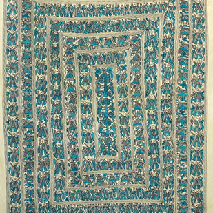 March Past(Green) by Kailash Devi, Folk Painting, Natural colours on paper, Green color