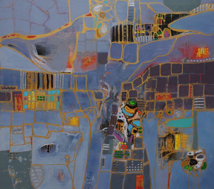 City Series 08 by S A Vimalanathan, Geometrical Painting, Acrylic on Canvas, Brown color
