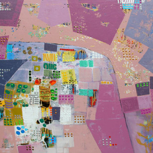 City Series 09 by S A Vimalanathan, Geometrical Painting, Acrylic on Canvas, Brown color