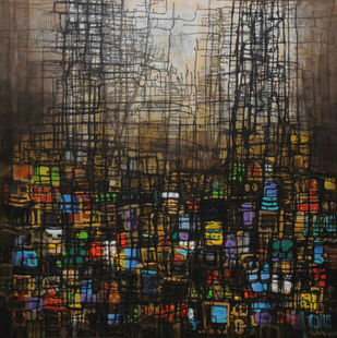 City Series 11 by S A Vimalanathan, Abstract Painting, Acrylic on Canvas, Brown color