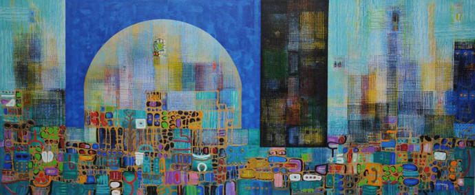 City Series 13 by S A Vimalanathan, Geometrical Painting, Acrylic on Canvas, Green color