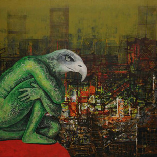 City Series 15 by S A Vimalanathan, Expressionism Painting, Acrylic on Canvas, Green color