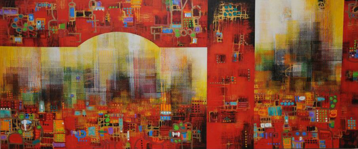 City Series 14 by S A Vimalanathan, Geometrical Painting, Acrylic on Canvas, Brown color
