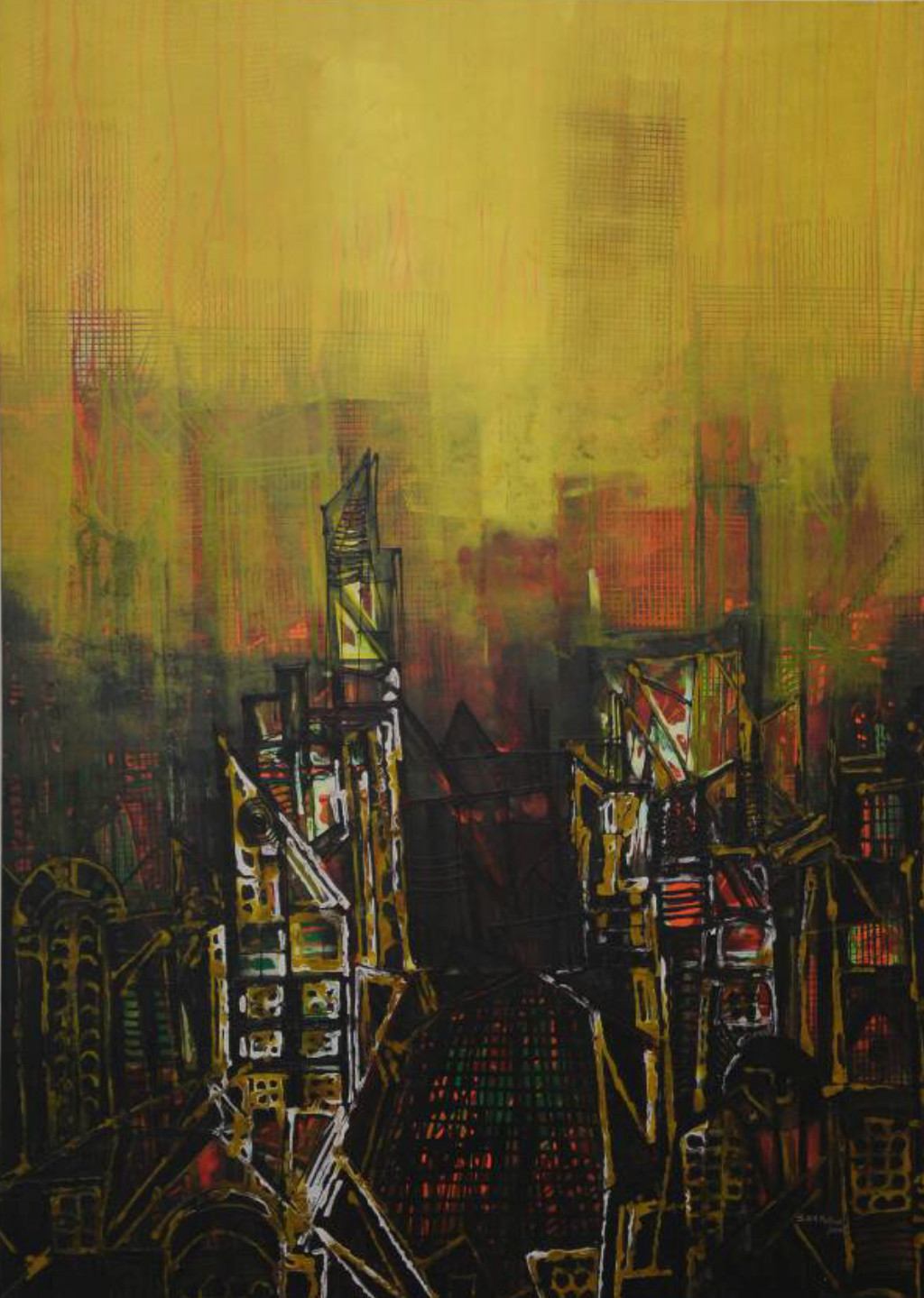 City Series 16 by S A Vimalanathan, Abstract Painting, Acrylic on Canvas, Green color