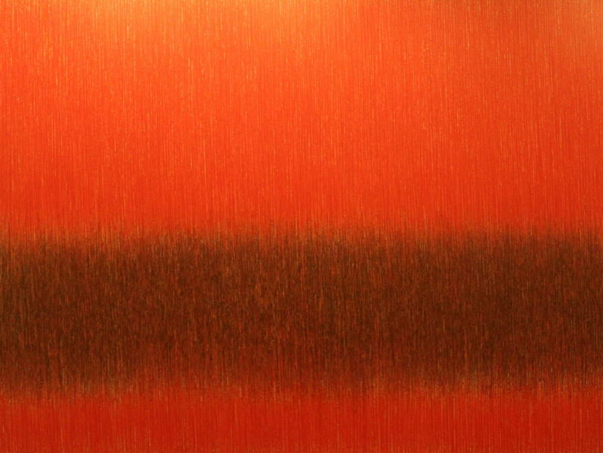 Videh-6 by SATISH BHAISARE, Abstract Painting, Acrylic on Canvas, Orange color