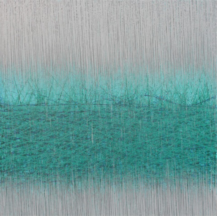 Untitled-2 by SATISH BHAISARE, Abstract Painting, Acrylic on Canvas, Cyan color