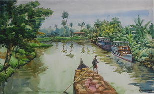 Eastern Venice from Kerala by Roney Devassia, Impressionism Painting, Watercolor on Paper, Green color