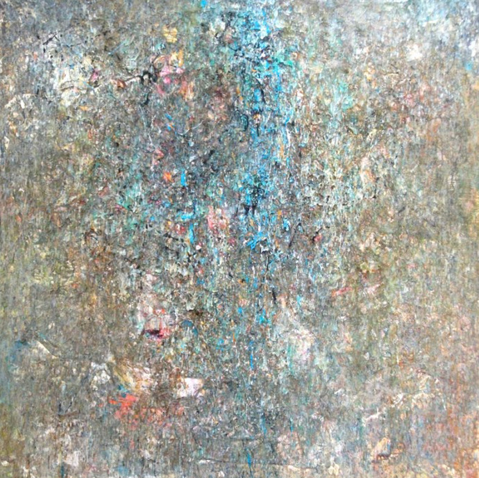 Illusion Series D5 by Sachin Deo, Abstract Painting, Mixed Media on Canvas, Gray color