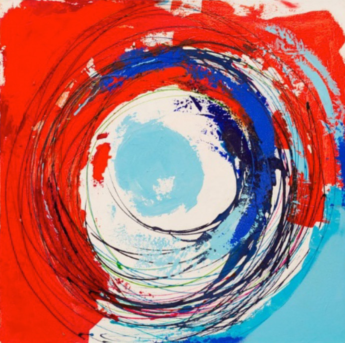 Energy Series- Red & Blue by Nele Martens, Abstract Painting, Acrylic on Canvas, Red color