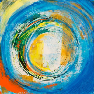 Energy Series- Morning by Nele Martens, Abstract Painting, Acrylic on Canvas, Cyan color