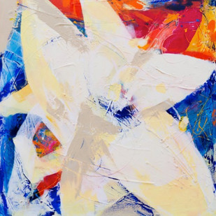 Flower Series-Blue & Red by Nele Martens, Abstract Painting, Acrylic on Canvas, Beige color