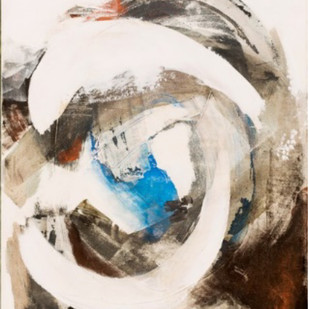 Wave Series 2 by Nele Martens, Abstract Painting, Mixed Media on Canvas, Beige color