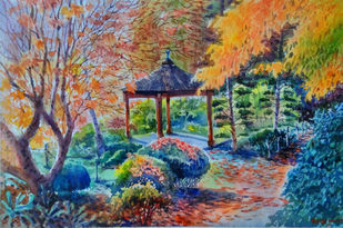 Morning light in Garden by Roney Devassia, Impressionism Painting, Watercolor on Paper, Brown color