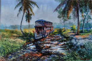 House boat at rest by Roney Devassia, Impressionism Painting, Watercolor on Paper, Green color
