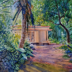 Light through the green by Roney Devassia, Impressionism Painting, Watercolor on Paper, Green color