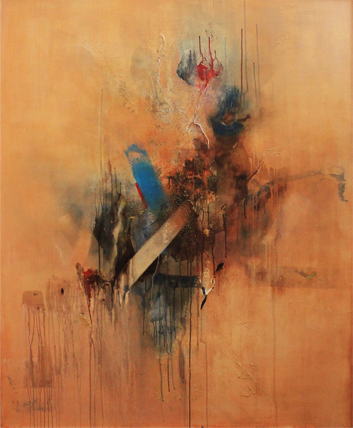 Natural phenomenon by Niharika Kashyap, Abstract Painting, Mixed Media on Canvas, Brown color