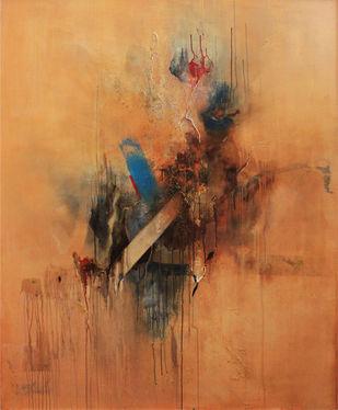 Natural phenomenon by Niharika Kashyap, Abstract Painting, Mixed Media on Canvas, Brown color