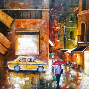 Rainy Day # 7 by Arjun Das, Impressionism Painting, Acrylic on Canvas, Brown color