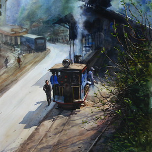 Memories-in-Darjeeling Toy Train 2 by Ranabir Saha, Impressionism Painting, Watercolor on Paper, Gray color