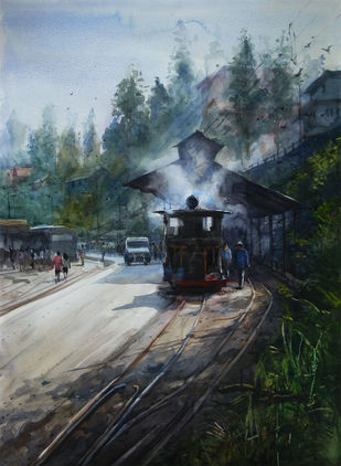 Memories-in-Darjeeling Toy Train 3 by Ranabir Saha, Impressionism Painting, Watercolor on Paper, Green color