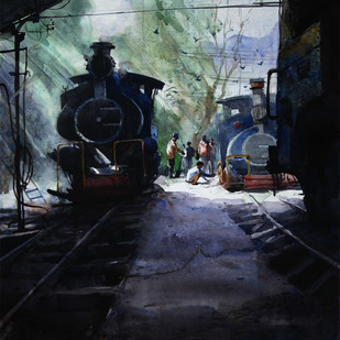 Memories-in-Darjeeling Toy Train 4 by Ranabir Saha, Impressionism Painting, Watercolor on Paper, Black color