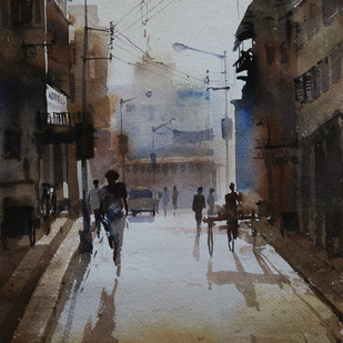 Kolkata@-afternoon by Ranabir Saha, Impressionism Painting, Watercolor on Paper, Gray color