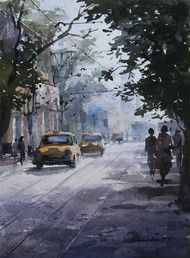 Kolkata-taxi by Ranabir Saha, Impressionism Painting, Watercolor on Paper, Gray color