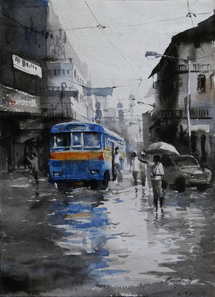 Kolkata-Monsoon2 by Ranabir Saha, Impressionism Painting, Watercolor on Paper, Gray color