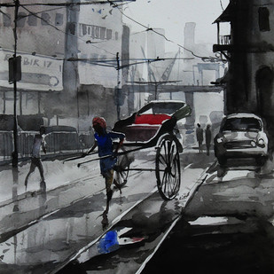 Kolkata-Riksaw by Ranabir Saha, Impressionism Painting, Watercolor on Paper, Gray color
