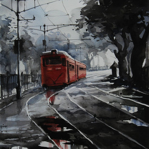 Kolkata-Tram by Ranabir Saha, Impressionism Painting, Watercolor on Paper, Gray color