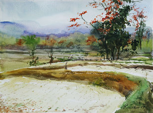 Spring-@-Purulia Bengal-1 by Ranabir Saha, Impressionism Painting, Watercolor on Paper, Beige color