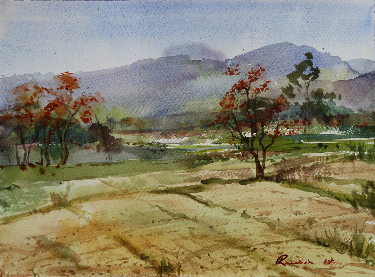 Spring-@-Purulia Bengal-2 by Ranabir Saha, Impressionism Painting, Watercolor on Paper, Brown color