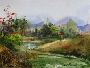 Spring-@-Purulia Bengal-3 by Ranabir Saha, Impressionism Painting, Watercolor on Paper, Green color