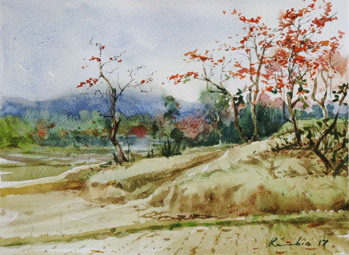 Spring-@-Purulia Bengal-4 by Ranabir Saha, Impressionism Painting, Watercolor on Paper, Beige color