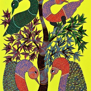 Gond painting showcasing Gods creation. by Brajbhushan Dhurve, Tribal Painting, Acrylic on Canvas, Green color