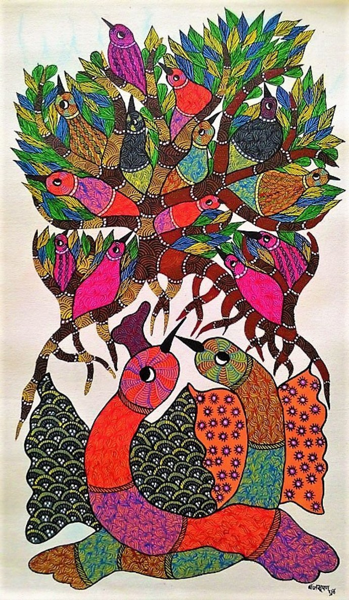 Gond Painting Illustrating Parent Birds Protecting Their