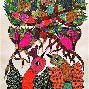 Gond Painting illustrating parent birds protecting their little ones. by Brajbhushan Dhurve, Tribal Painting, Acrylic on Canvas, Brown color