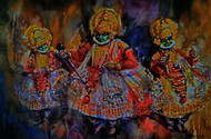 Kathakali series 2 by Roney Devassia, Impressionism Painting, Watercolor on Paper, Brown color