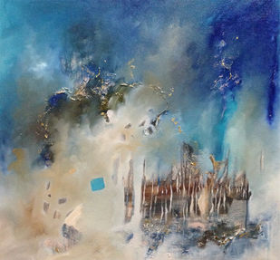 Elements of galaxy by Niharika Kashyap, Abstract Painting, Mixed Media on Canvas, Blue color