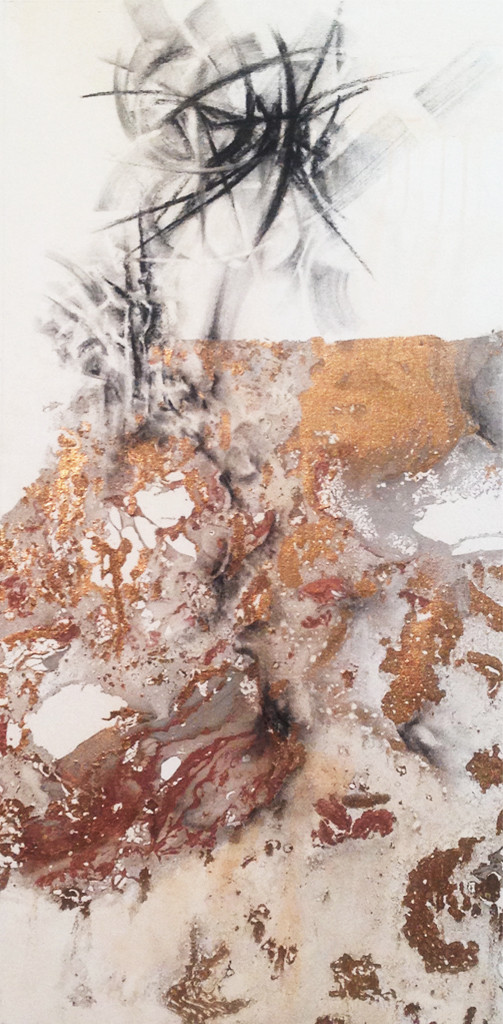 Winter 4 by Niharika Kashyap, Impressionism Painting, Mixed Media on Canvas, Beige color