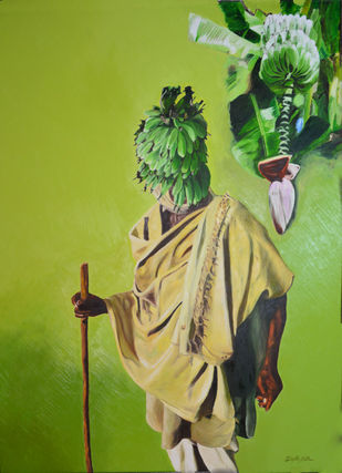 Banana by Dipto Narayan Chattopadhyay, Surrealism Painting, Oil on Canvas, Green color