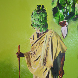 Banana by Dipto Narayan Chattopadhyay, Surrealism Painting, Oil on Canvas, Green color