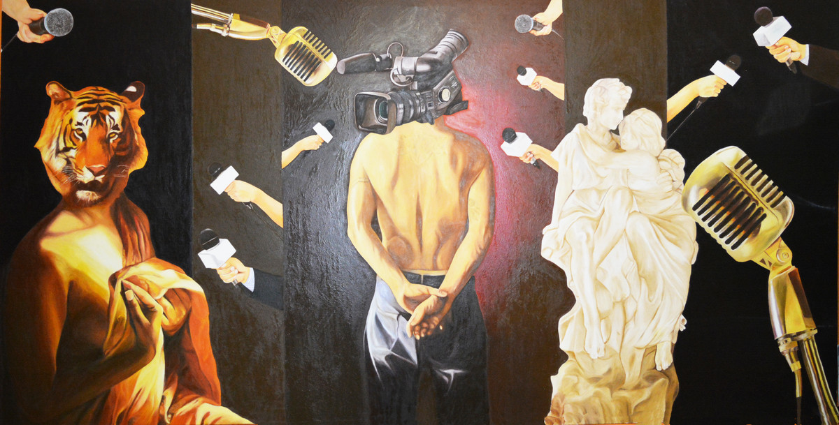 Media by Dipto Narayan Chattopadhyay, Surrealism Painting, Oil on Canvas, Brown color