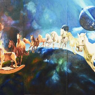 Race Digital Print by Dipto Narayan Chattopadhyay,Expressionism