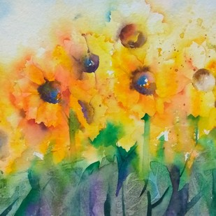 Sunshine by Poulami Basu, Impressionism Painting, Watercolor on Paper, Beige color