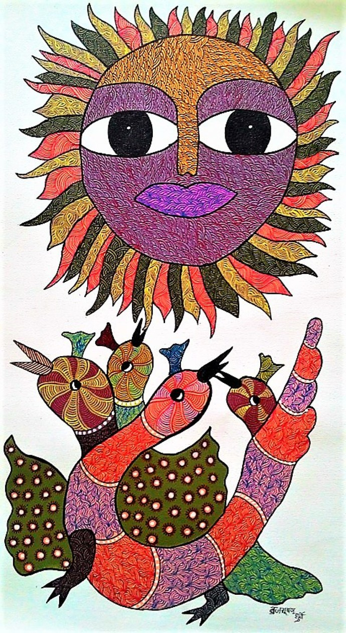 Gond Painting Birds Chirping In A Beautiful Daylight By