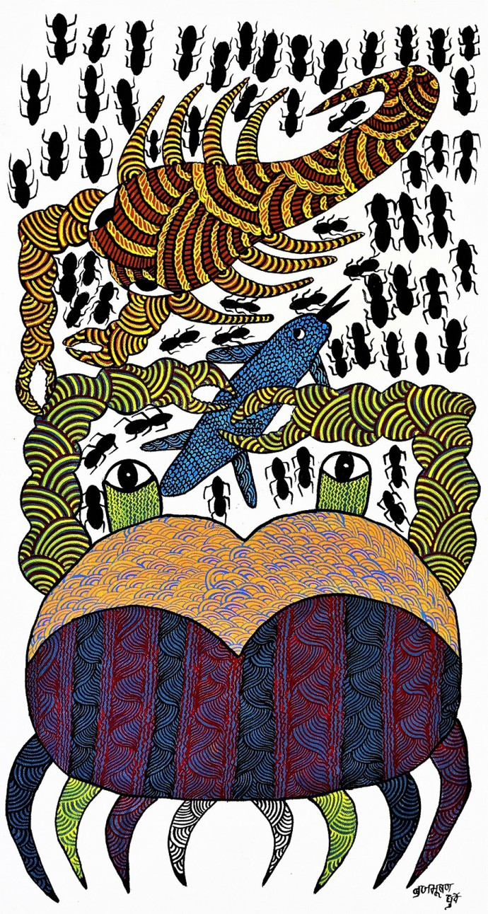 Gond painting of animal food chain. by Brajbhushan Dhurve, Tribal Painting, Acrylic on Canvas, Gray color