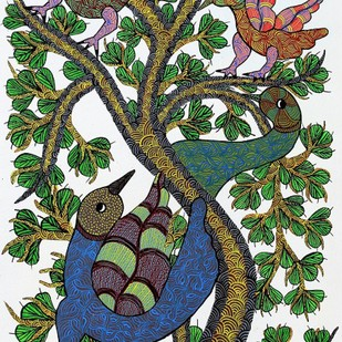 Gond painting illustrating home sweet home for birds. by Brajbhushan Dhurve, Tribal Painting, Acrylic on Canvas, Green color