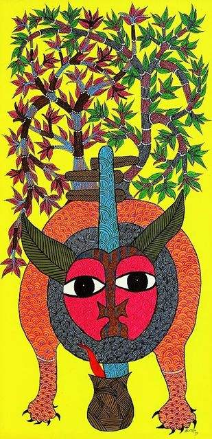 Gond painting illustration with lines and dots. by Brajbhushan Dhurve, Tribal Painting, Acrylic on Canvas, Green color