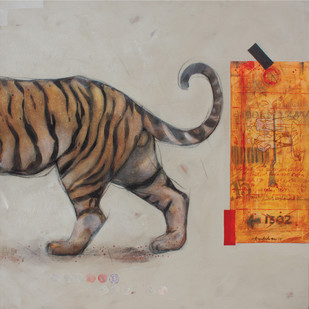 Royal Exit (I) by Amalesh Das, Expressionism Painting, Acrylic & Graphite on Canvas, Brown color